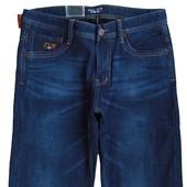 Теплые джинсы на флисе мужские 29-42р. тёмно-синего цвета