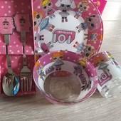 Большой выбор детской посуды +вилка и ложка по супер цене 210грн за комплект с 5 предметов..