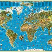 Карты Мира для детей на украинском языке На подарок супер!! Акция до 01.07 по 100 грн отправка сразу