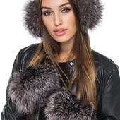 Варежки, перчатки с натур мехом чернобурки, лисички,кролика.