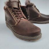 Распродажа по прошлогодним ценам.Кожаные ботинки с натур. мехом.Есть большие размеры.39-49