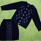 Кардиганы, юбки, жилетки, лосины теплые стрейч-вельвет девочкам 110-140 см. Есть выкупленые