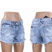 Женские джинсовые шорты. Наличие и сбор. Замеры в описании