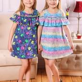 У наявності . відправка зразу  Модне   легкі літні платтячка з рюшею  на110,122, 134см   у наявності