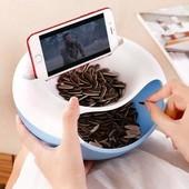 Миска для семичка, фруктов, орешков с пазами для телефона и Тросик со щипцами для чистки раковин