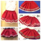 Украинские красные юбки с вышевкой, тесьмой, кружевом