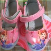Красивейшие туфельки с принцессой Софией со светящейся подошвой,кожанная  стелька с супинатором21-26