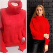 Модный свитер оверсайз, горло снуд