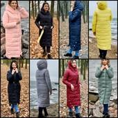 Пальто-пуховик-одеяло зима Oversize с капюшоном,р.42-60