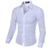 Рубашка в британксом стиле длинный рукав M- 5XL черная код 1