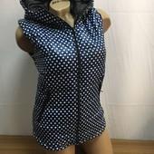 Очень стильная женская жилетка в горошек 42, 44, 46, 48, 50 рр. Цвет темно-синий в белый горошек