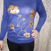 Обалденная кофточка 44/48 универсальный синий (цвет джинс) в наличии
