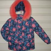 Зимняя курточка для девочек..Ткань водо,пыле,грязе отталкивающая