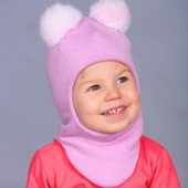 Хит!Мягусенькие и красивые шапочки-шлемы с двумя мех.помпонами.Согреет отлично!