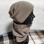 Теплые комплекты на флисе шапка-чулок+бафф, полушерсть, отличное качество! мои фото