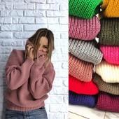 Обьемные свитера теплые яркие в наличии и под заказ с горлом и без туники платья 42-52 р