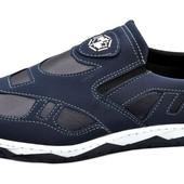 Туфли мокасины мужские синие (КФ-35-С)