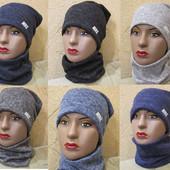 Отличного качества женские комплекты шапка+хомут 54-56р В наличии.