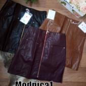 СП выкуп от 1 ед.! Короткие юбки эко-кожа юбки на молнии с карманами 3 цвета