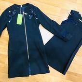 Без ростовок. Школьные комплекты кардиган + платье. Два вида. Размеры 128см-152см