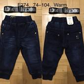 Джинсовые брюки утепленные для мальчиков F&D 74-104 р.р.(274)