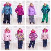 Тёплые детские раздельные комбинезоны девочкам, размеры 92,98,104,110