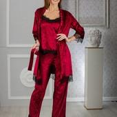 Костюмы пижамок!!!!Отличный подарок!!!Штанишки,маечка,халатик!!!В цветах,в размерах!!!