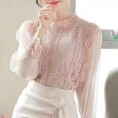 Стильная новинка!!!!!Блуза с кружевом!!!!В цветах
