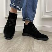 Ботинки осень натуральная замша, свободно 36,37,38