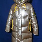 Пальто зимнее люкс класса для девочек от 116 до 158 р, новинка 2022, тренд сезона