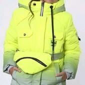 Куртка-парка зимняя светоотражающая градиент для девочек от 134 до 158 р, качество,тренд зимы